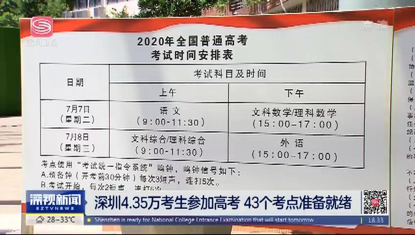 深圳4.35万考生参加高考 43个考点准备就绪