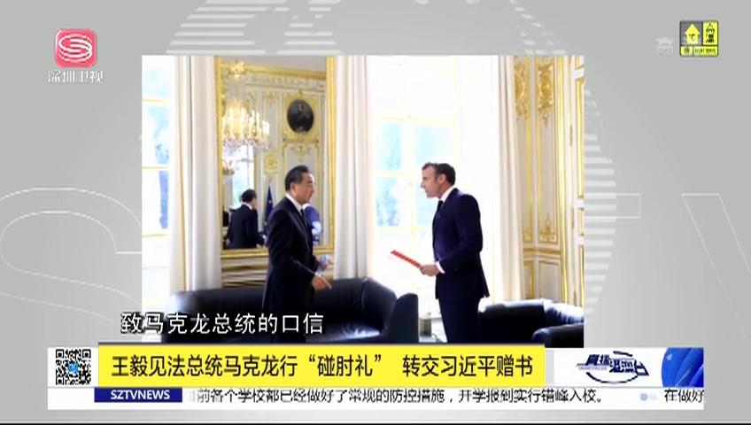"""王毅见法总统马克龙行""""碰肘礼"""" 转交习近平赠书"""