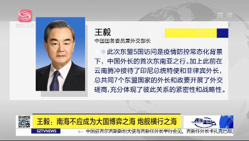 王毅:南海不应成为大国博弈之海 炮舰横行之海