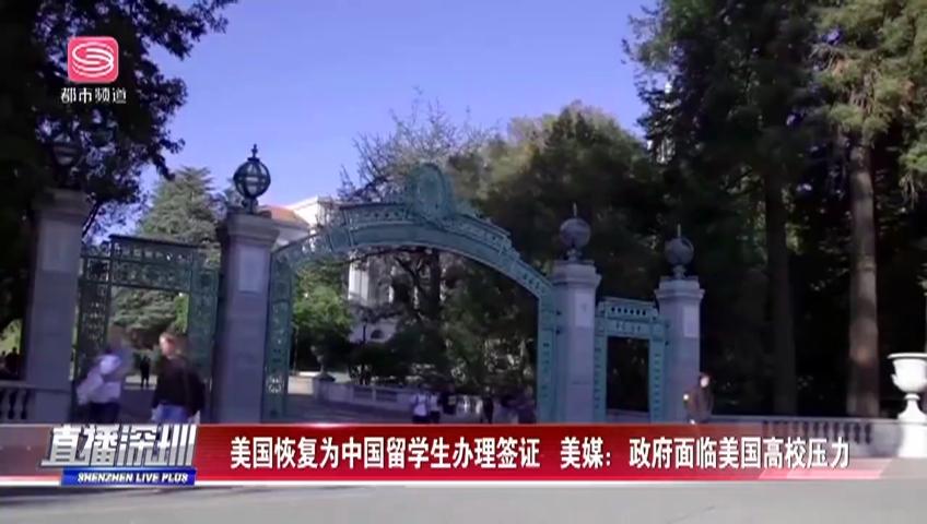美国恢复为中国留学生办理签证 美媒:政府面临美国高校压力