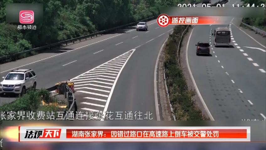 湖南张家界:因错过路口在高速路上倒车被交警处罚